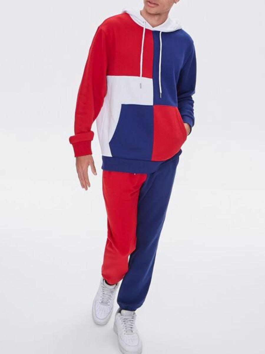 LW Men Color-lump Kangaroo Pocket Sweatsuit Set