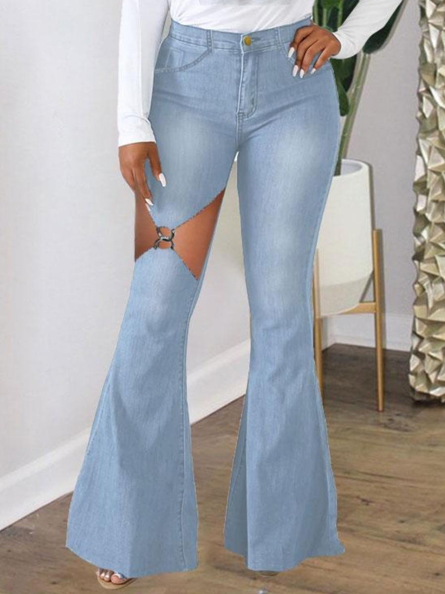 LW Ripped Ring Detail Flared Jeans