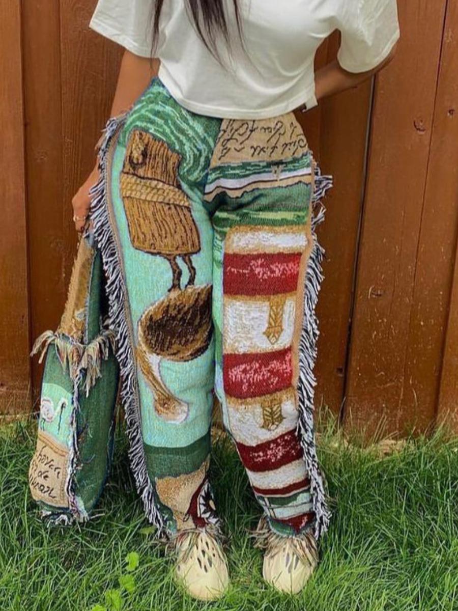 LW Tassel Design Patchwork Pants