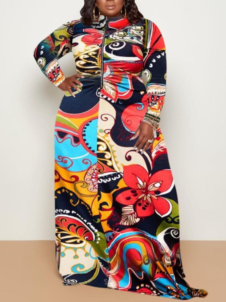 LW Plus Size Floral Print Patchwork A Line Dress