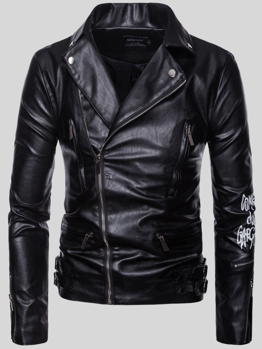LW Men Letter Print Zipper Design Leather