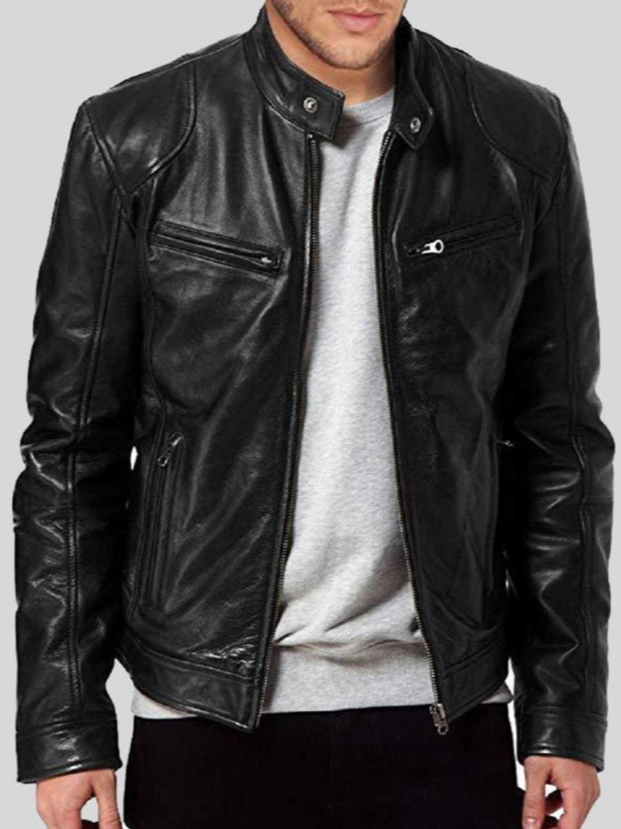 LW Men Pocket Zipper Design Leather