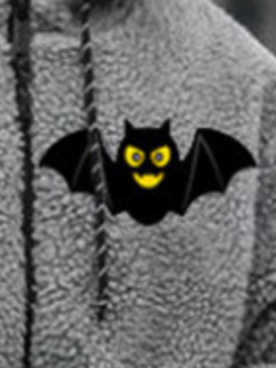 Lovely Men Bat Print Plush Hoodie