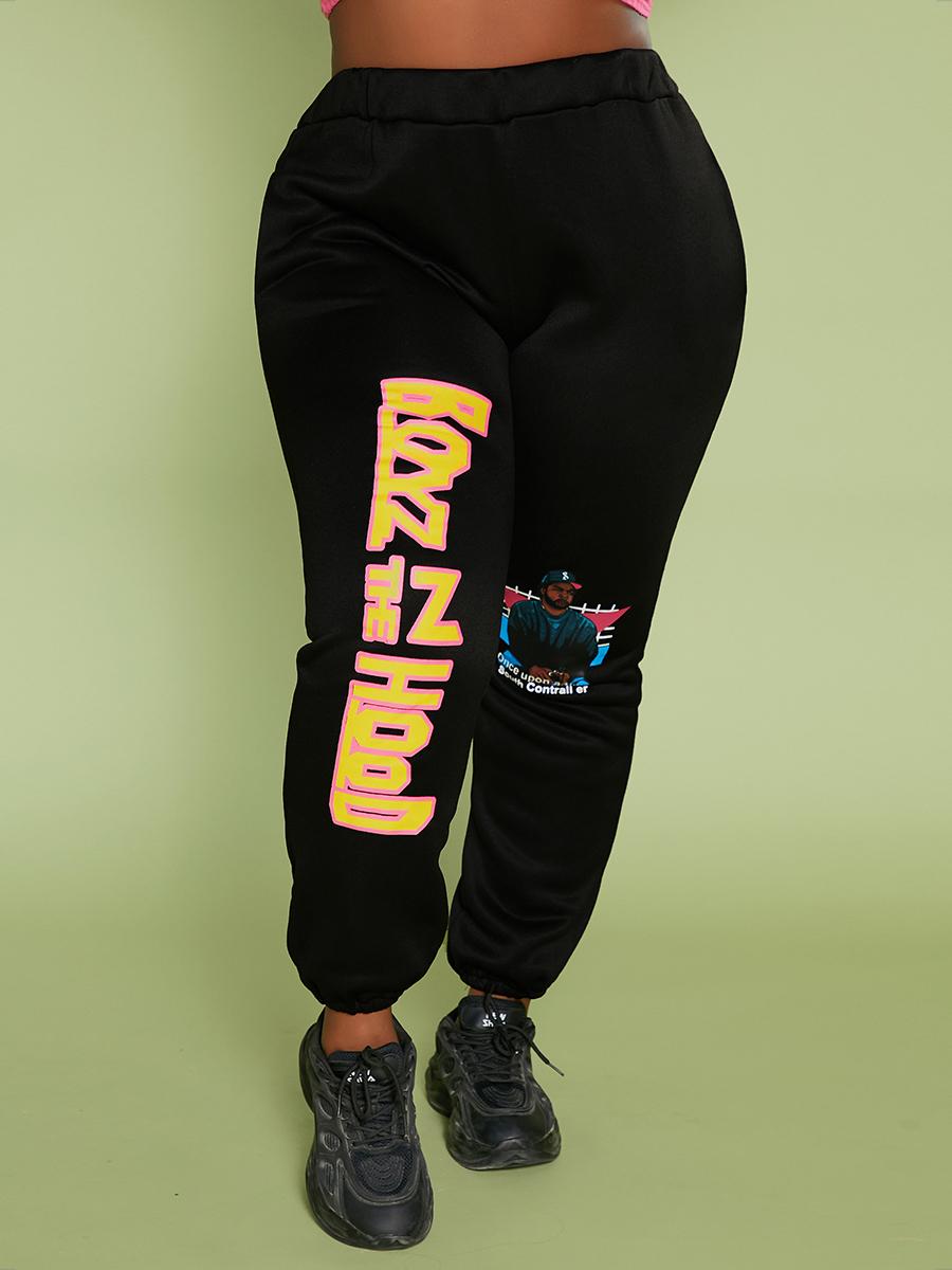 LW Plus Size Figure Letter Print Pants