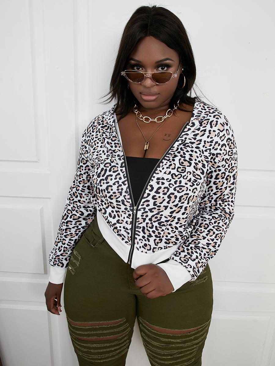LW Plus Size Leopard Print Zipper Design Hoodie