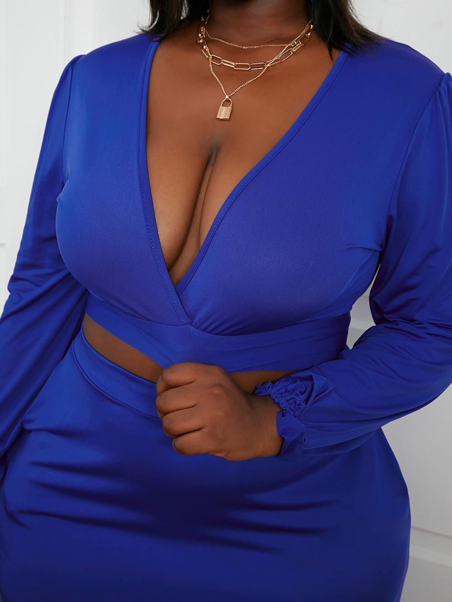 Lovely Plus Size V Neck A Line Skirt Set