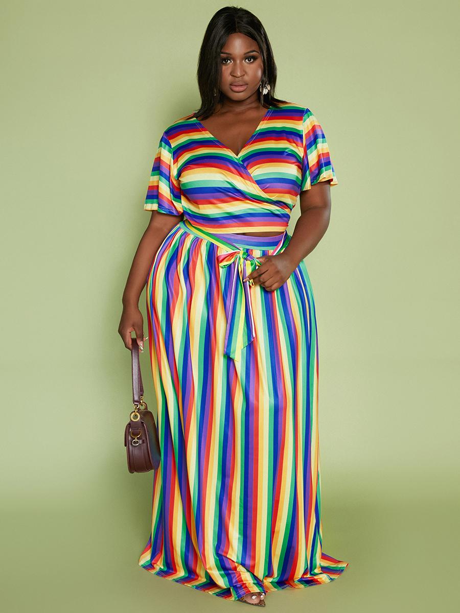 LW Plus Size Rainbow Striped Bandage Design Skirt Set