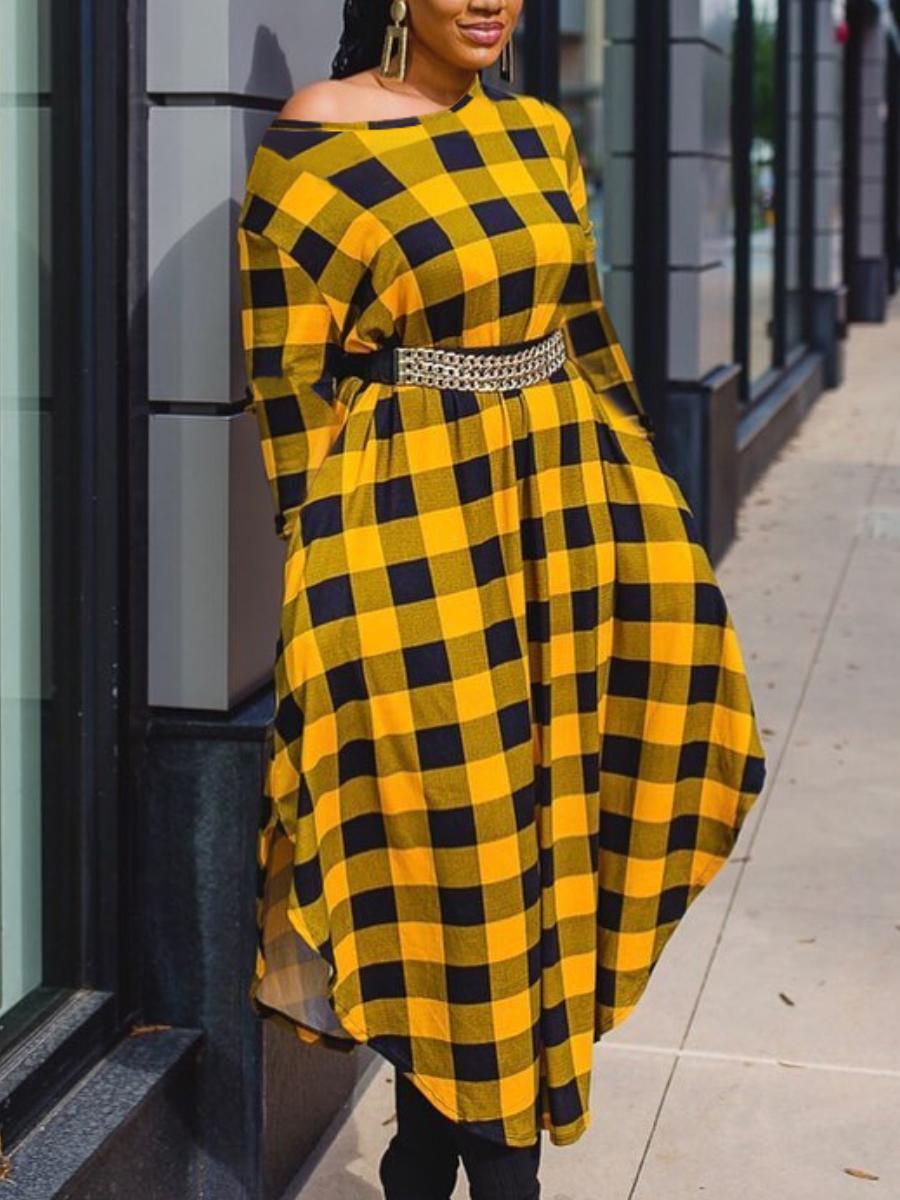 LW Plaid Print Pocket Design Dress (Without Waist Chain)