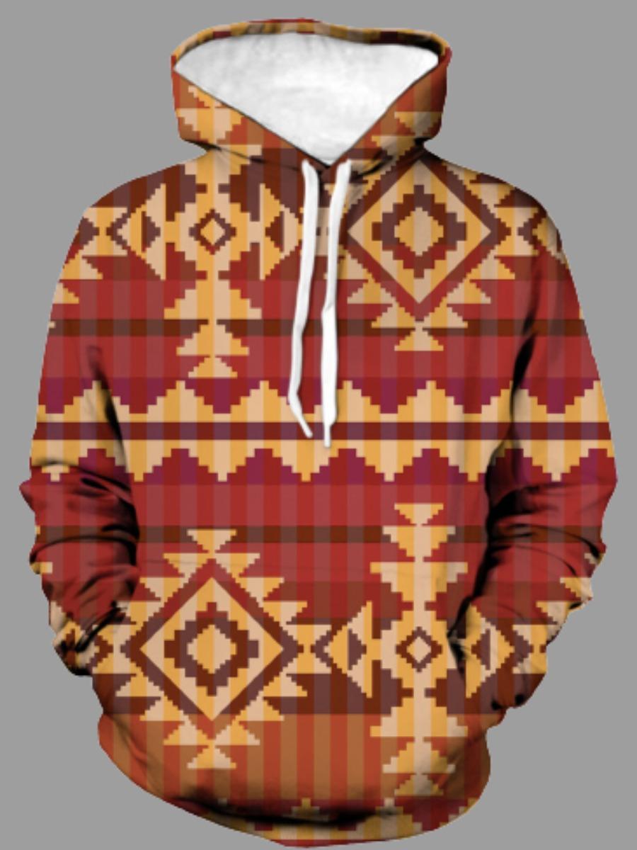 LW BASICS Men Geometric Print Oversized Hoodie