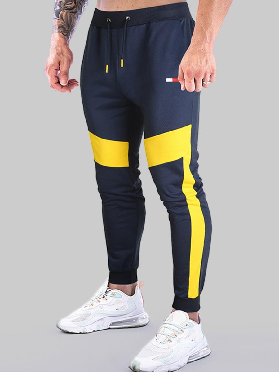 LW COTTON Men Color-lump Drawstring Pants