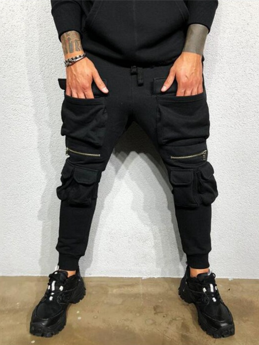 LW COTTON Men Zipper Pocket Design Pants