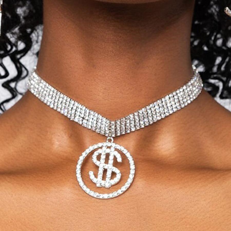 LW Dollar Sign Multi-row Necklace