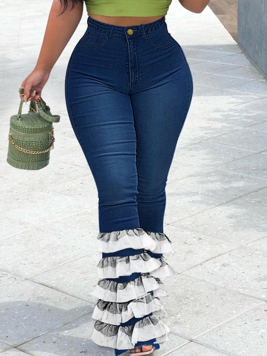 LW Layered Cascading Flounce Design Jeans