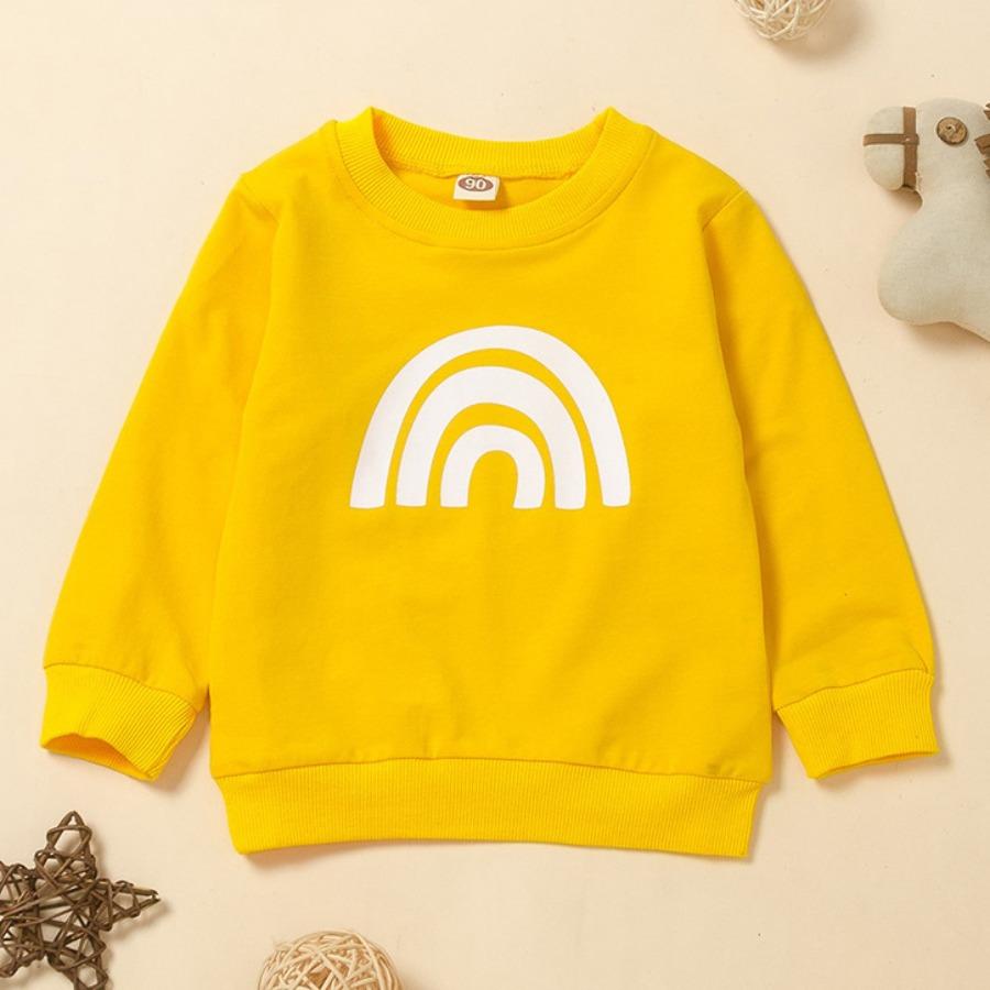 LW COTTON Girl Round Neck Rainbow Print Sweatshirt