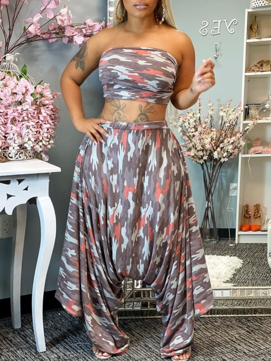 LW Plus Size Camo Print Harem Pants Set
