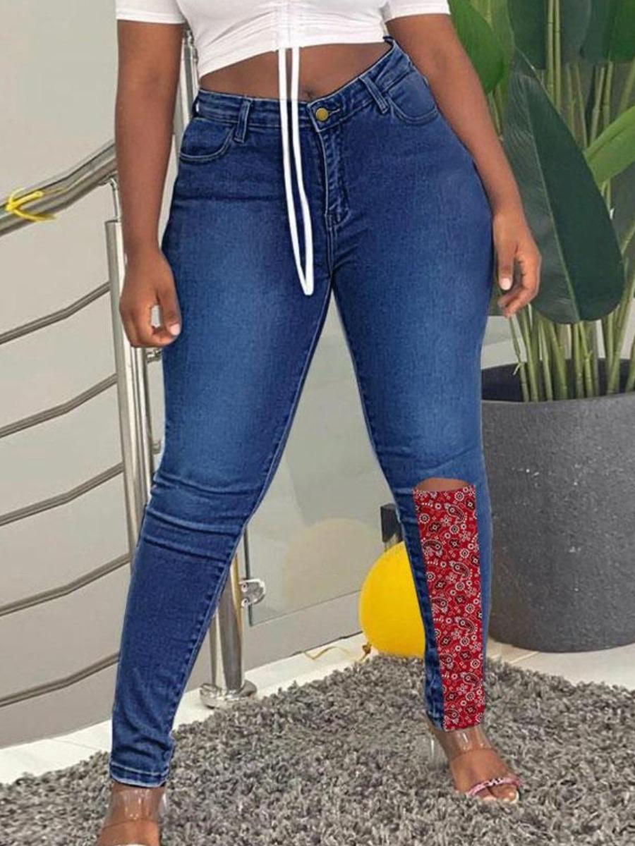 LW Cashew Print Rippe Jeans