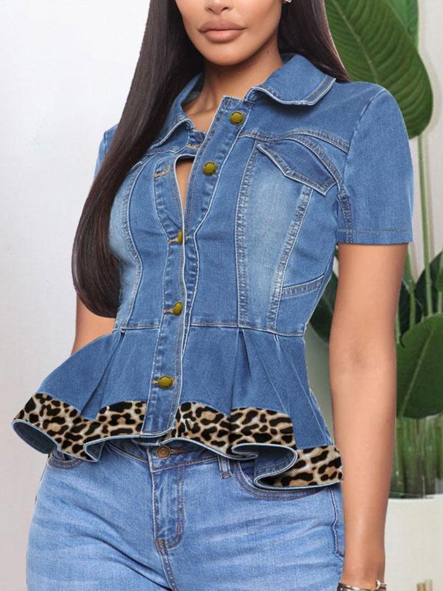 LW BASIC Leopard Print Flounce Design Denim Jacket