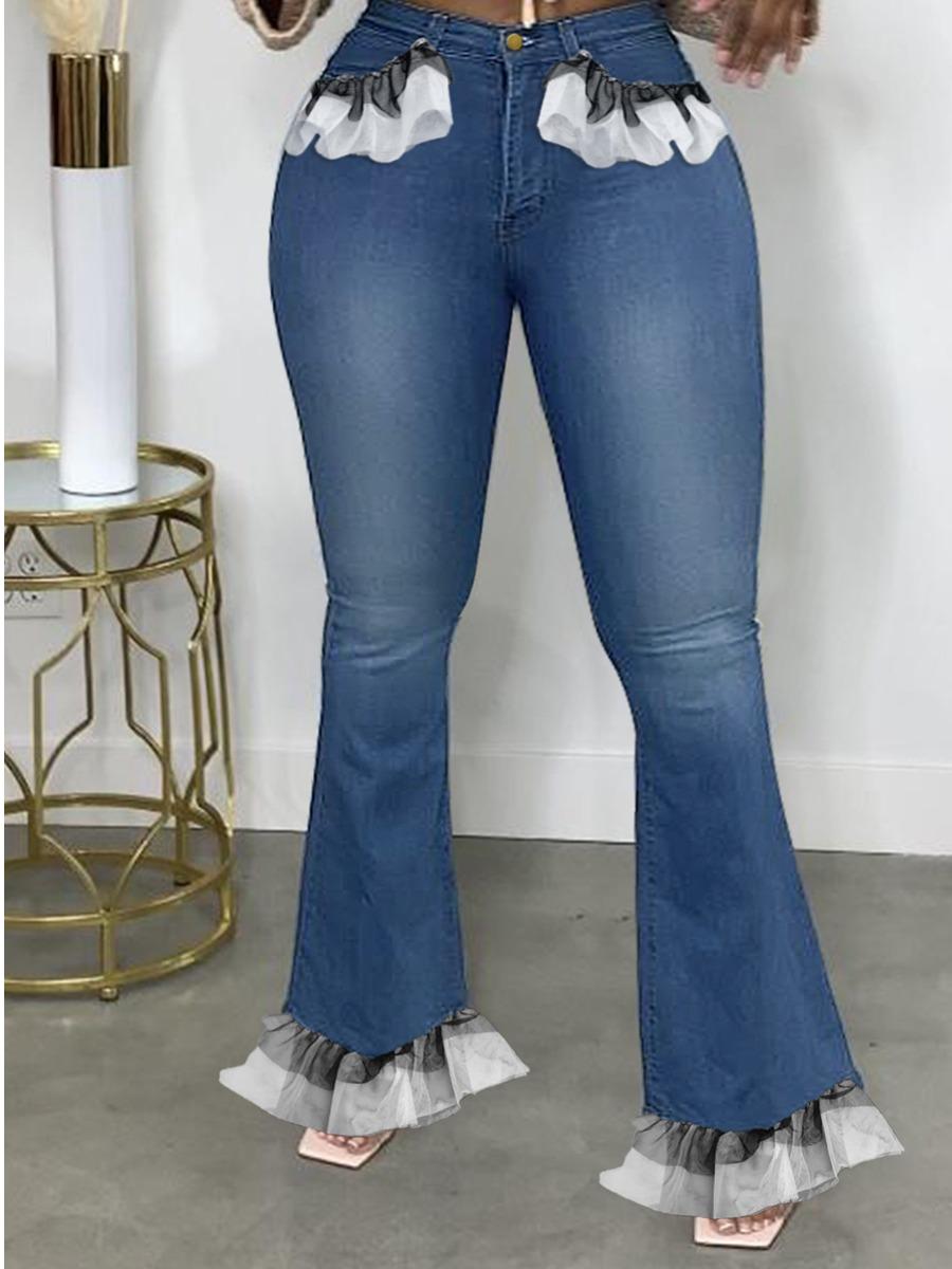 LW Plus Size Flounce Design Flared Jeans