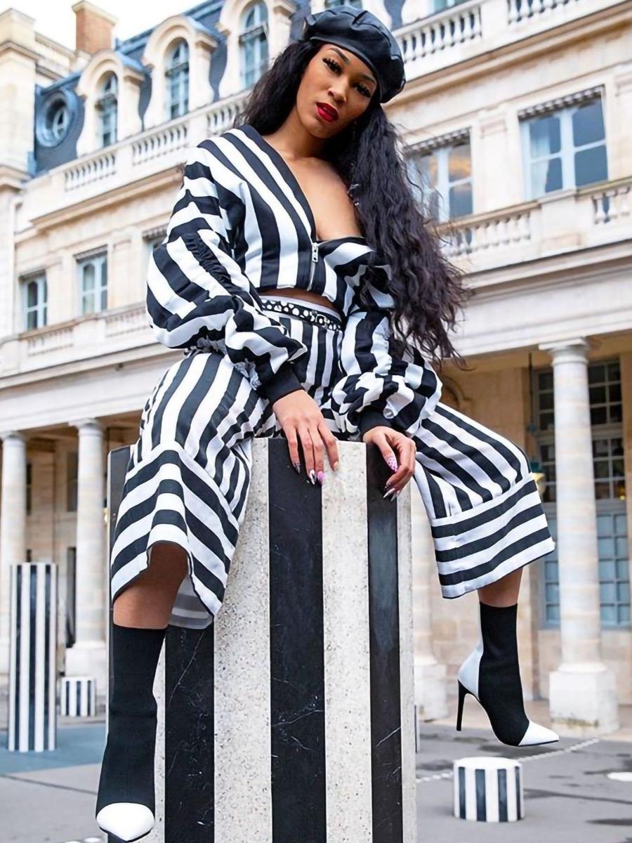 LW Striped Fold Design Pants Set