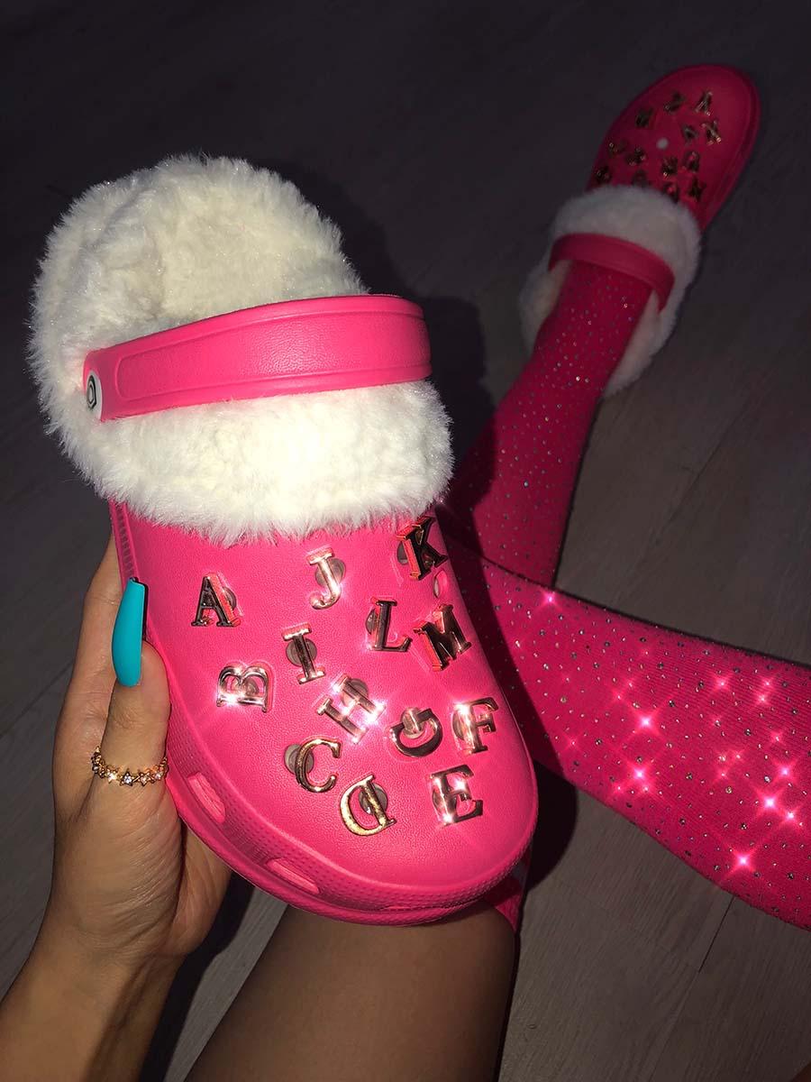 LW Letter Decor Plush Slippers