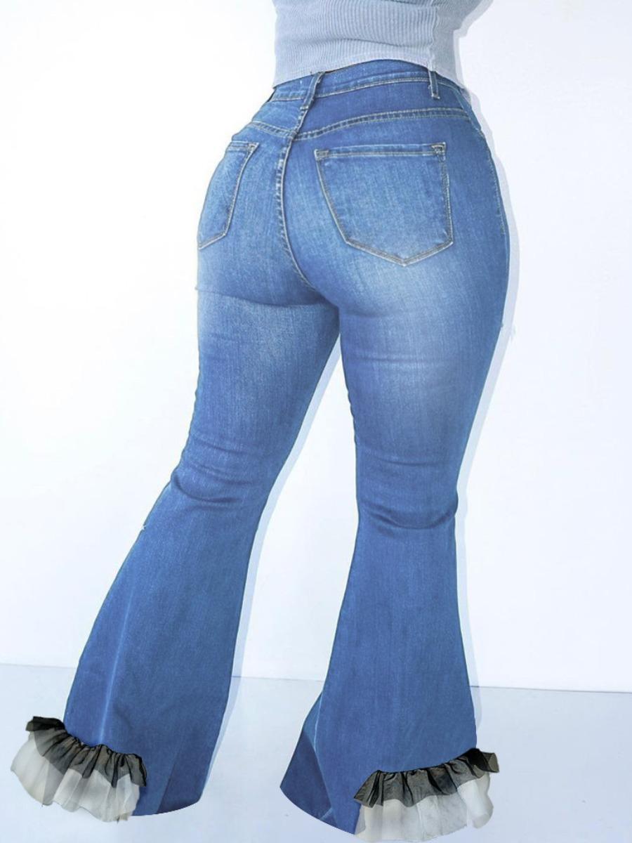 LW High-waisted Flounce Design Flared Jeans