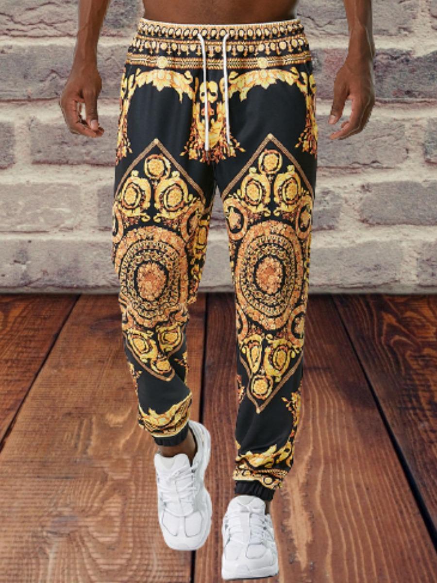 LW Men Mixed Print  Drawstring Pants