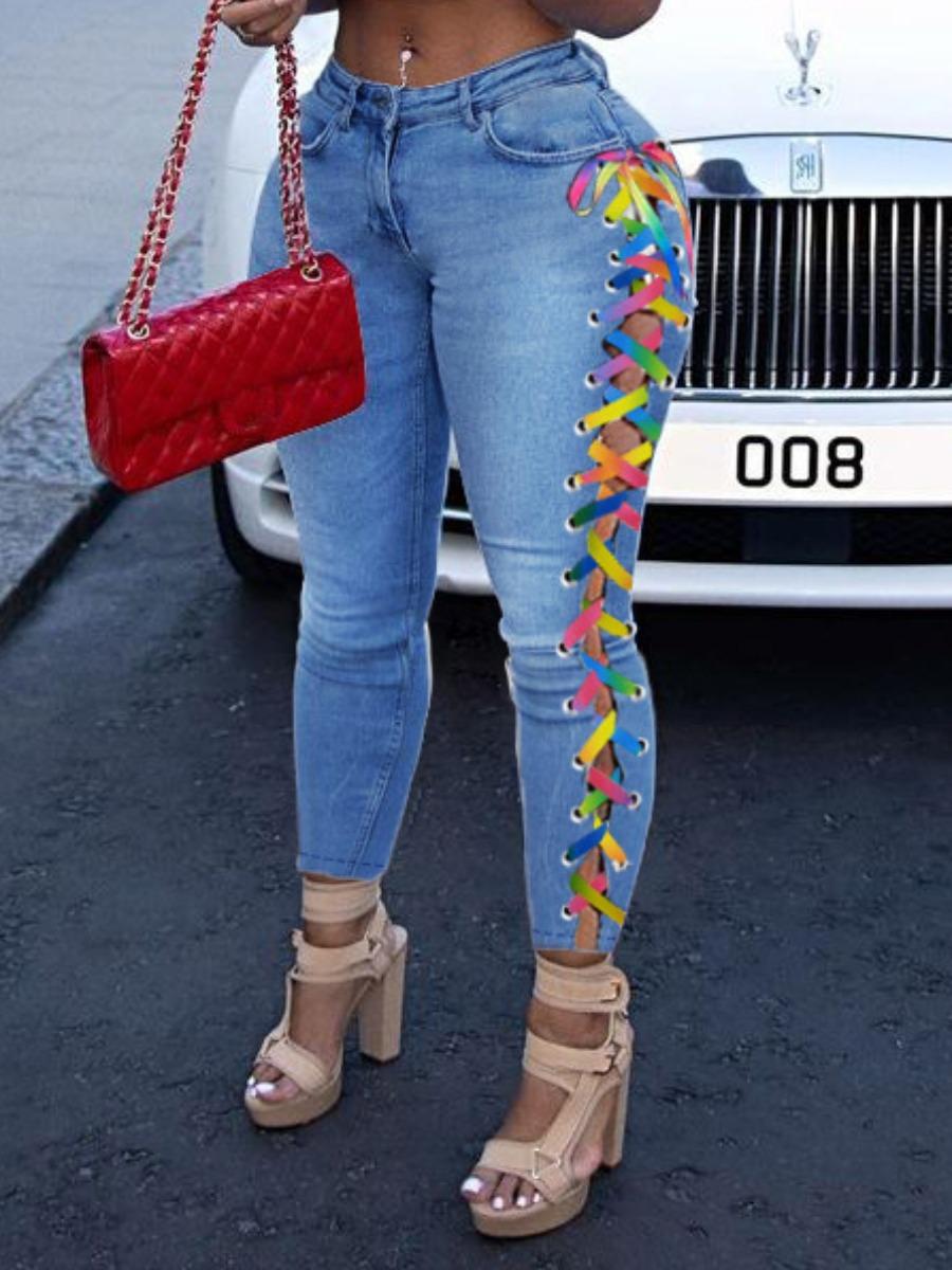 LW Plus Size Split Bandage Design Jeans