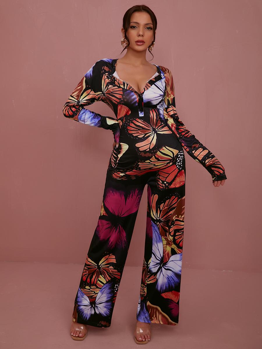 LW Butterfly Print Wide Leg Jumpsuit