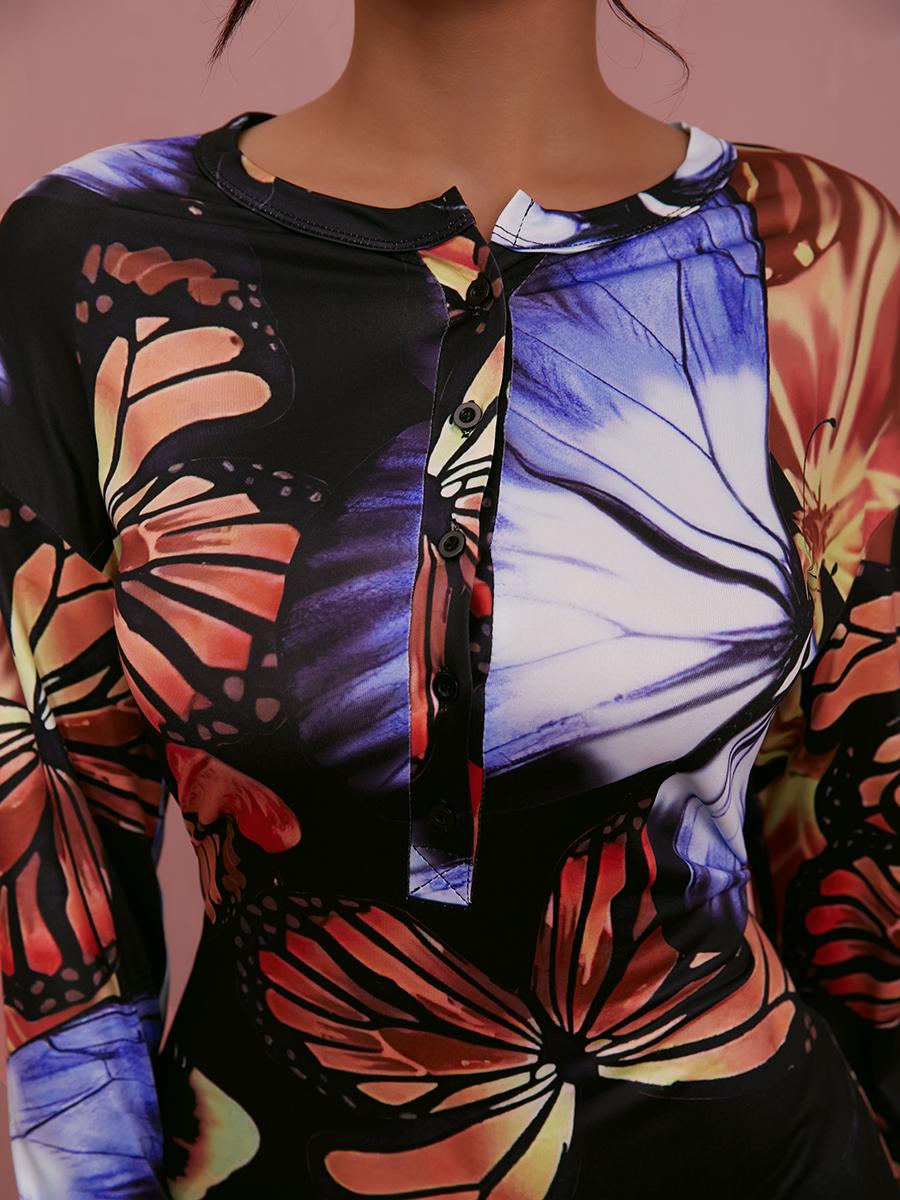 Lovely Butterfly Print Wide Leg Jumpsuit