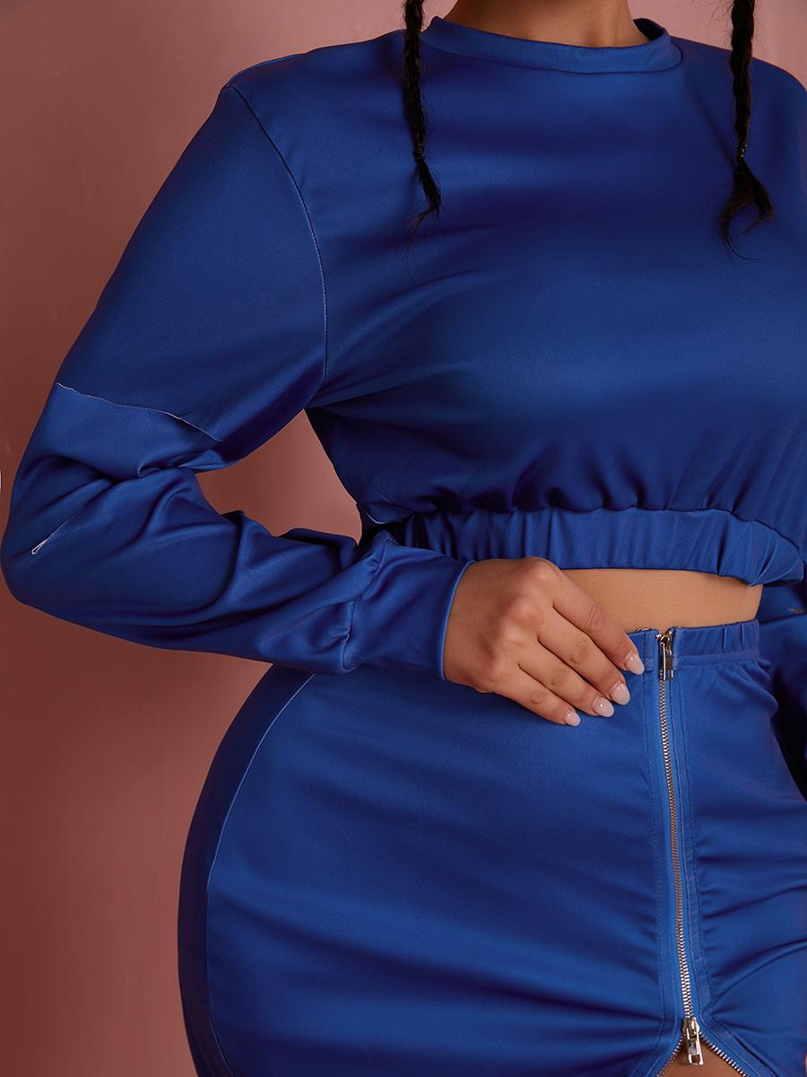 Lovely Ripped Zipper Design Skirt Set
