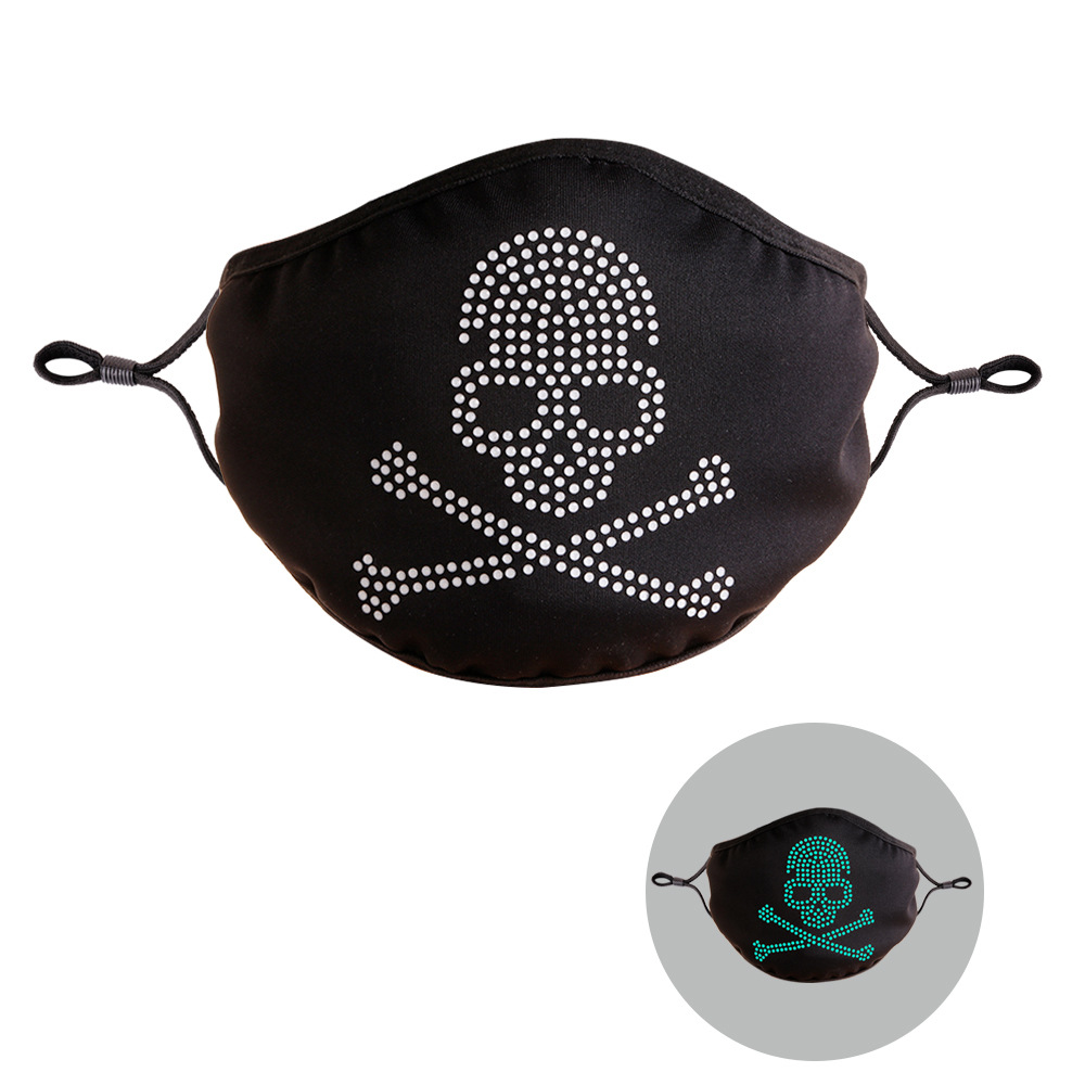 LW COTTON Skull Head Print Luminous Face Mask