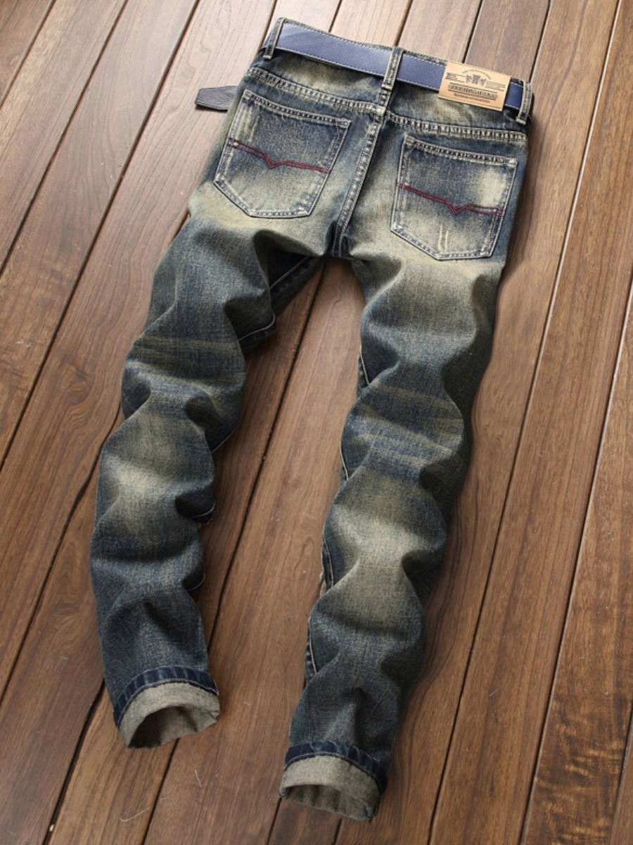 Lovely Men Patchwork Ripped Mid Waist Jeans