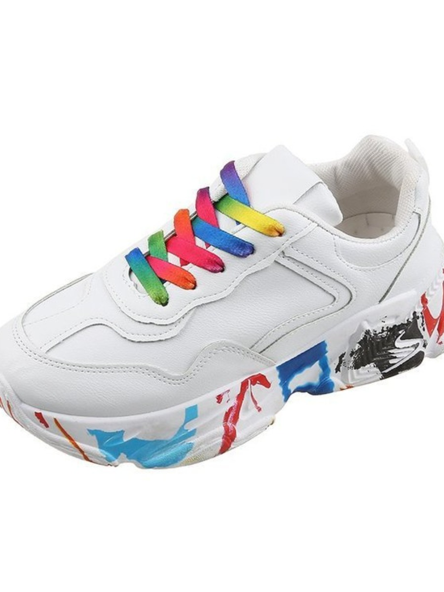 Lovely Color Lace-up Graffiti Sneakers