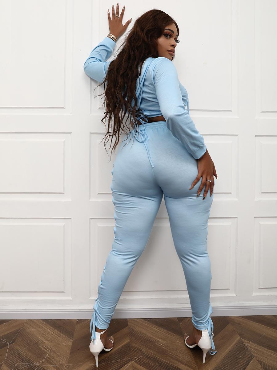 Lovely Plus Size Bandage Design Crop Top Pants Set