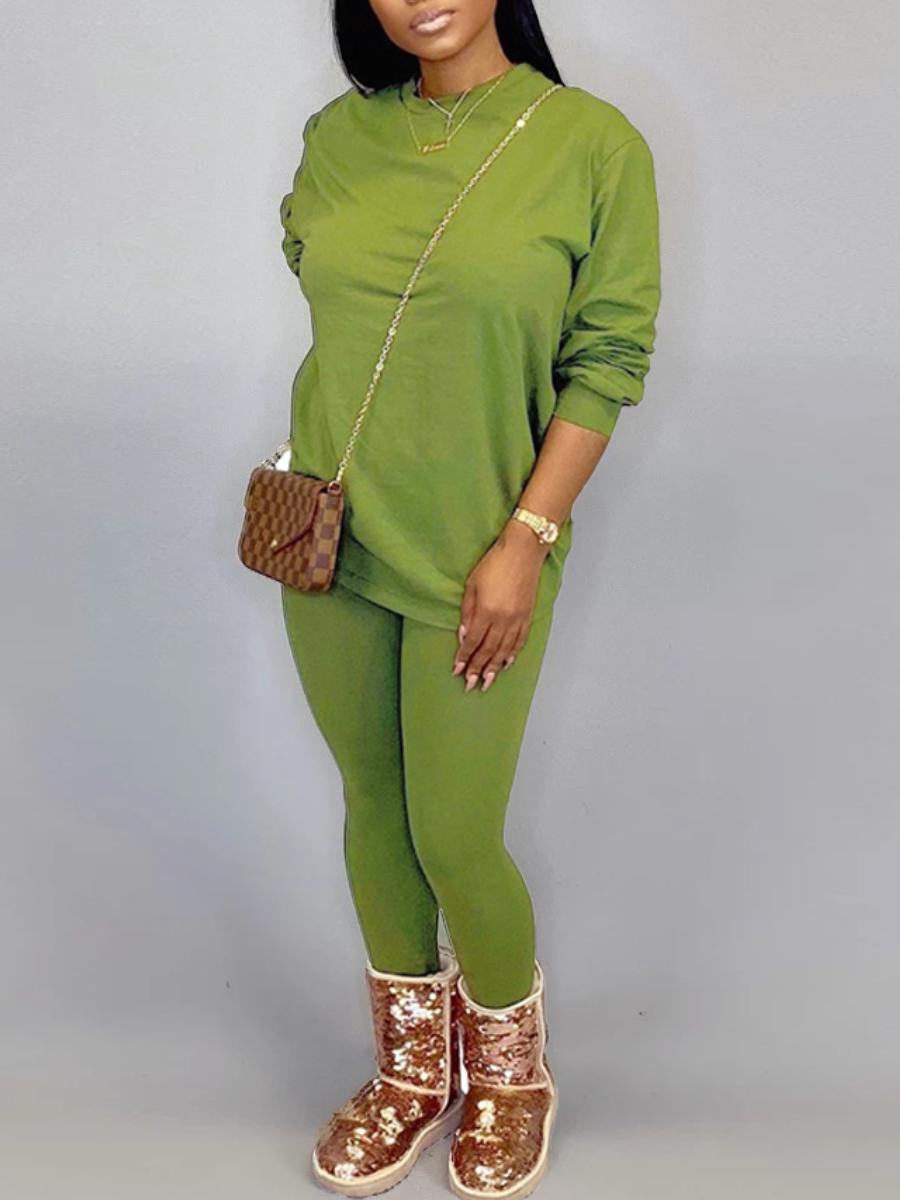 LW BASICS Plus Size Round Neck Elastic Pants Set
