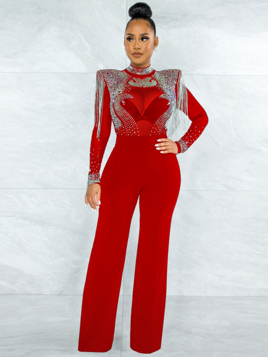 Lovely Sequined See-through Tassel Design Jumpsuit