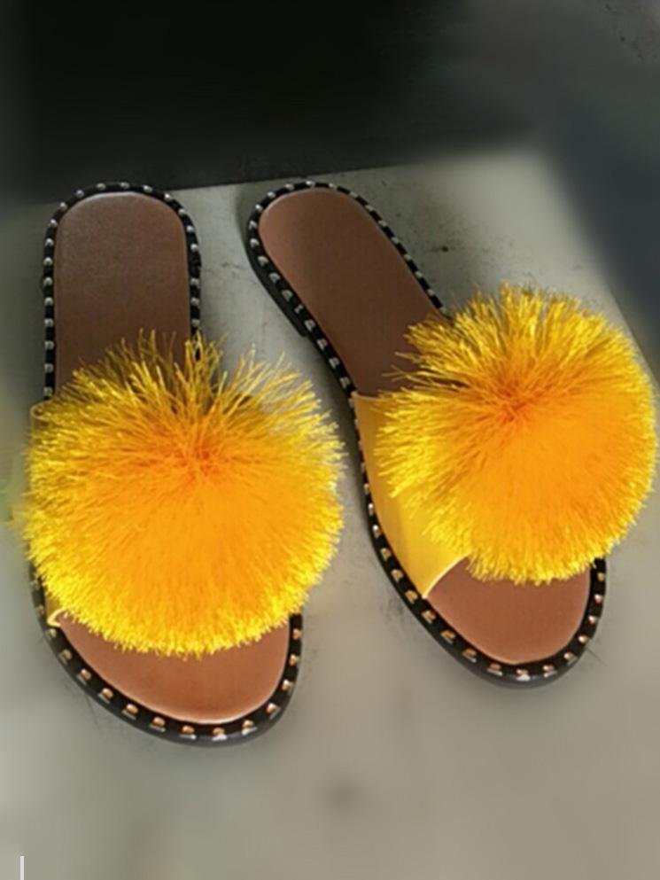 LW Solid Plush Ball Decor Slippers