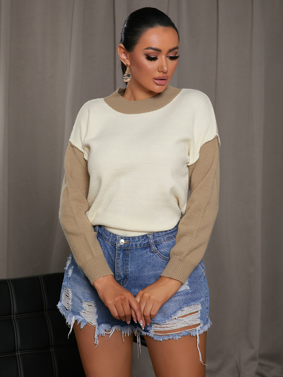 LW Dropped Shoulder Color-lump Sweater