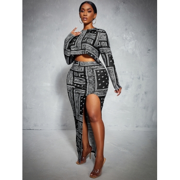 LW Geometric Print Thigh Split Two Piece Skirt Set, lovely, Two-piece Skirt Set  - buy with discount
