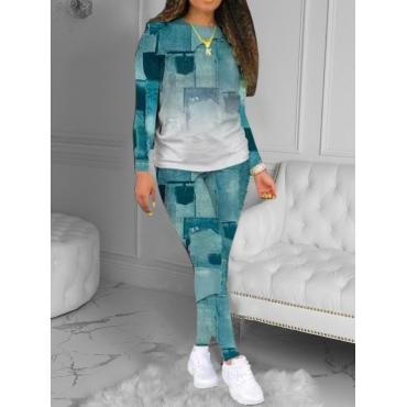 LW BASICS Round Neck Gradient Pants Set