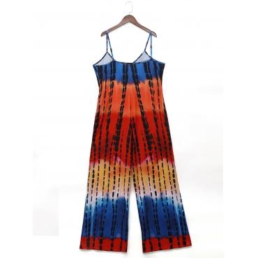 LW Plus Size Casual Tie-dye Pocket Design Multicolor One-piece Jumpsuit