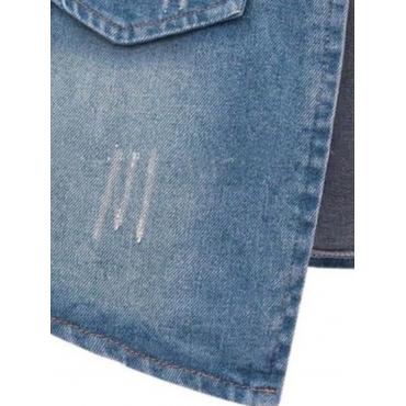 LW BASIC Plus Size Zipper Pocket Design Blue Denim Coat