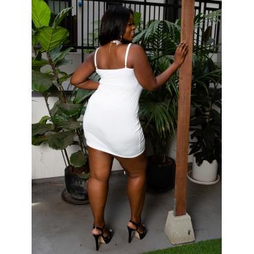 LW BASICS Plus Size Ruched Drawstring Dress