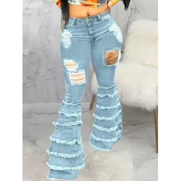 LW Ripped Layered Cascading Jeans