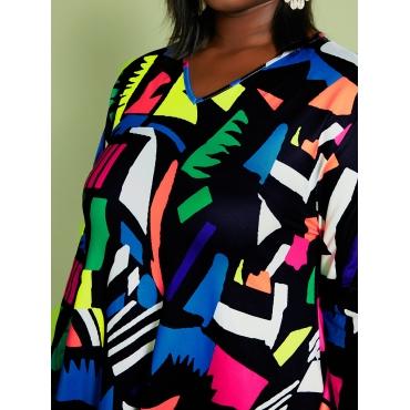 LW Plus Size Color-lump A Line Dress