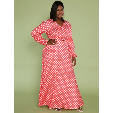 LW Plus Size V Neck Dot Print A Line Skirt Set