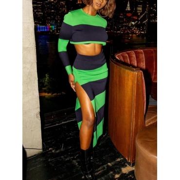 LW SXY Striped Thigh Slit Crop Top Skirt Set