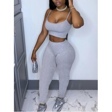 LW Sportswear Basic Skinny Grey Yoga Two Piece Pants Set