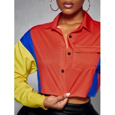 LW Color-lump Crop Top Blouse
