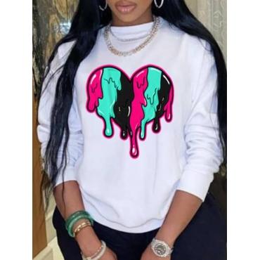 LW Plus Size Round Neck Heart Print Sweatshirt